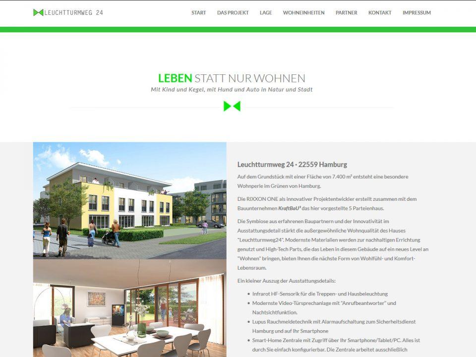 Beispiel Immobilien-Webseite Immobilienprojekt-Branding