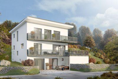 Architekturvisualisierung Einfamilienhaus in Birsfelden in der Schweiz