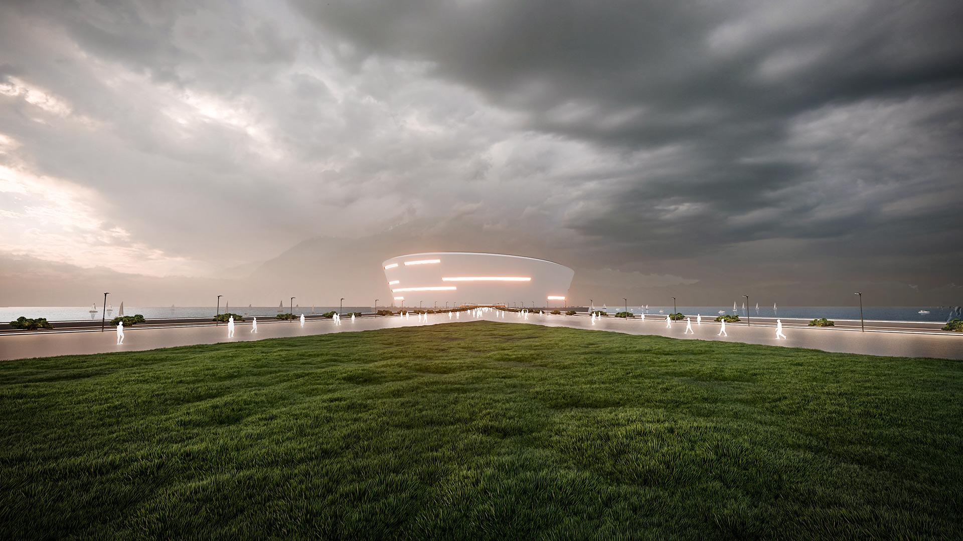 3D Rendering einer schwimmenden Olympia Arena in Japan. Blick über Zubringer-Brücke auf die Areana
