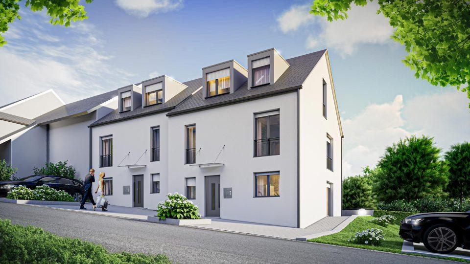 Architektur Visualisierung zwei Reihenhäuser in Baden-Württemberg
