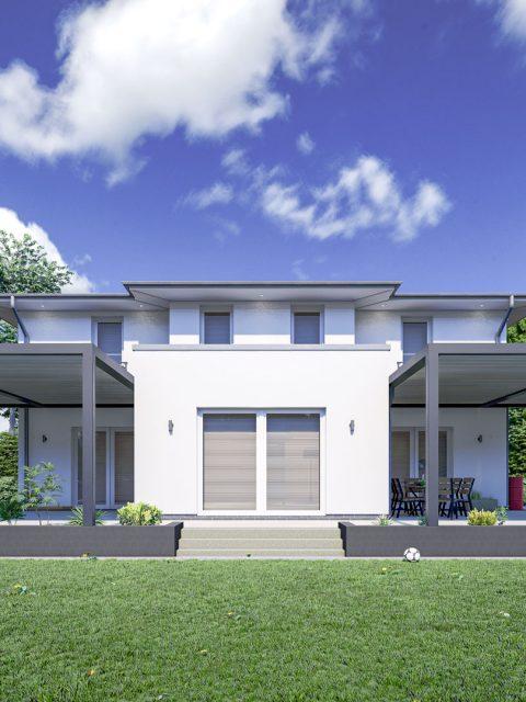 3D Visualisierung einer Villa in Sachsen mit neuem Lamellendach