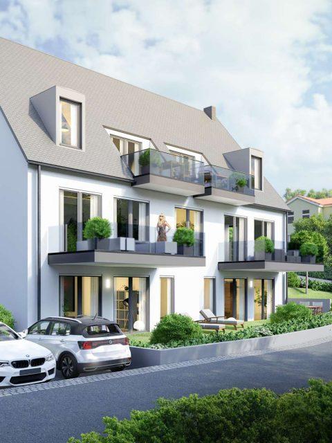3D Visualisierung Architektur - Mehrfamilienhaus Bayern mit Garten und Parkplätzen