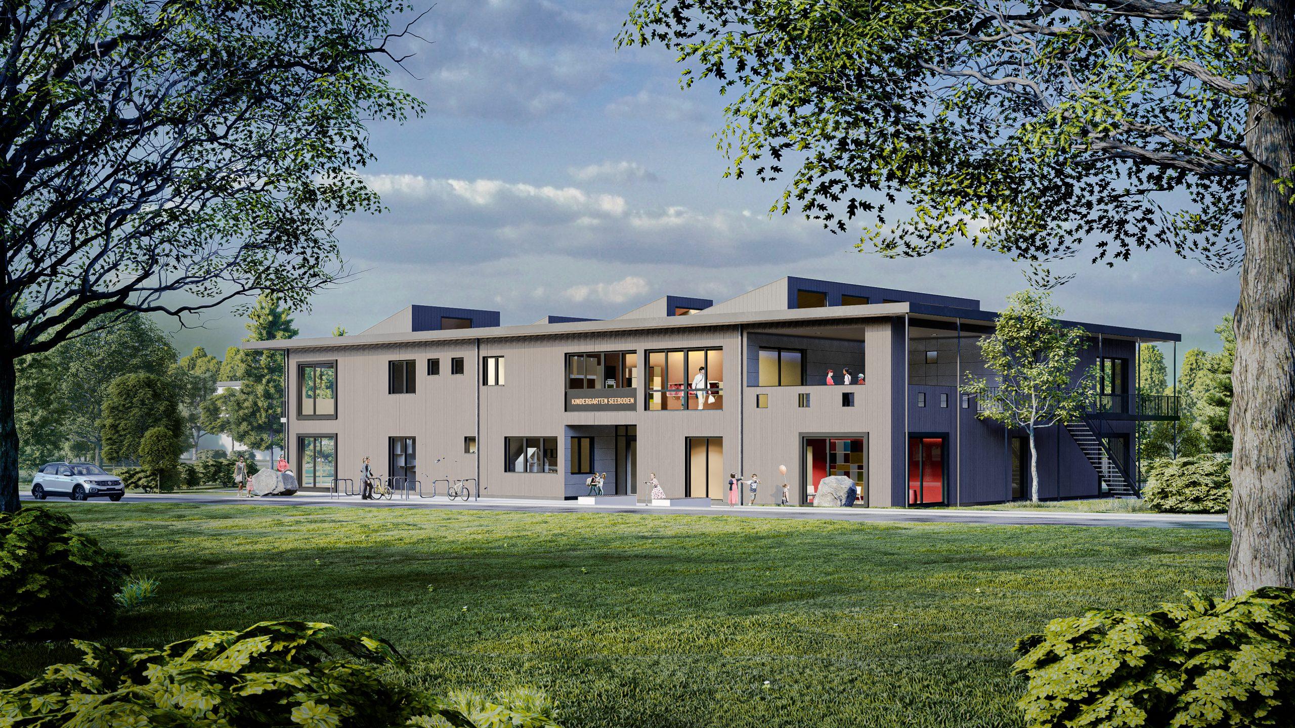 Architektur Visualisierung - Neubau des Kindergartens Seeboden nach Brand